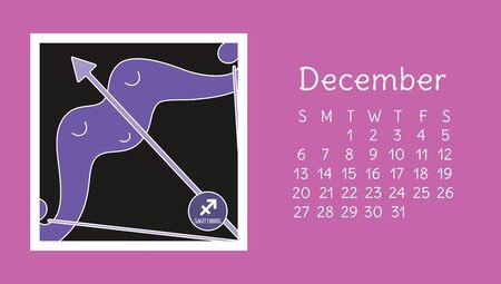 December 2020. Calendar. Zodiac sign: sagittarius. Vector horoscope. Astrological calender. Color design Ilustração