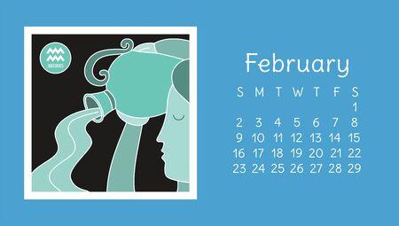 February 2020. Calendar. Zodiac sign: aquarius. Vector horoscope. Astrological calender. Color design Ilustração
