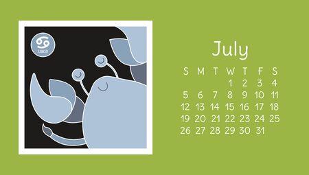 July 2020. Calendar. Zodiac sign: cancer. Vector horoscope. Astrological calender. Color design Ilustração