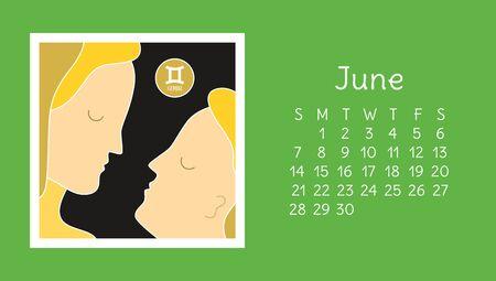 June 2020. Calendar. Vector horoscope. Astrological calender. Color design