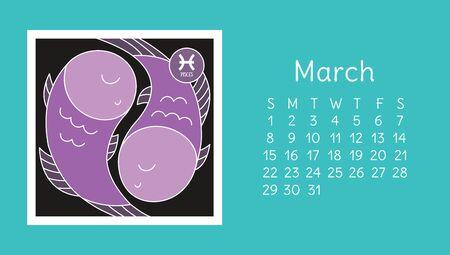 March 2020. Calendar. Zodiac sign: pisces. Vector horoscope. Astrological calender. Color design Ilustração
