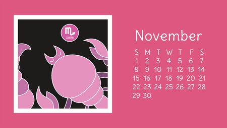 November 2020. Calendar. Zodiac sign: scorpio. Vector horoscope. Astrological calender. Color design
