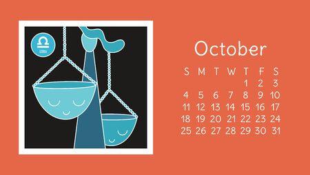 October 2020. Calendar. Zodiac sign: libra. Vector horoscope. Astrological calender. Color design