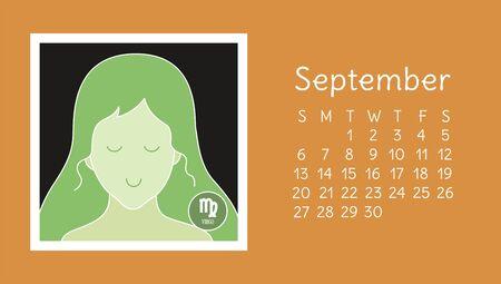 September 2020. Calendar. Zodiac sign: virgo. Vector horoscope. Astrological calender. Color design