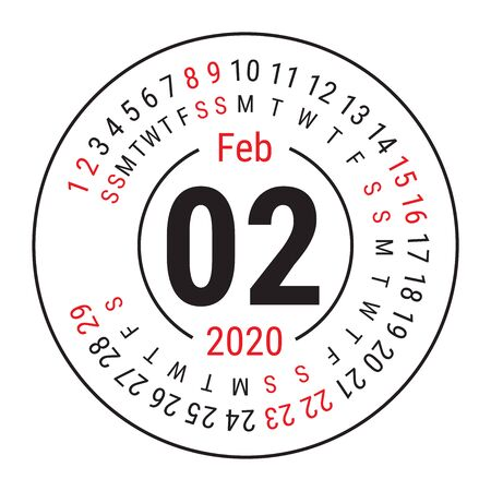 February 2020. Vector English сalendar. Round calender. Week starts on Sunday. Design template. Circle. Second month