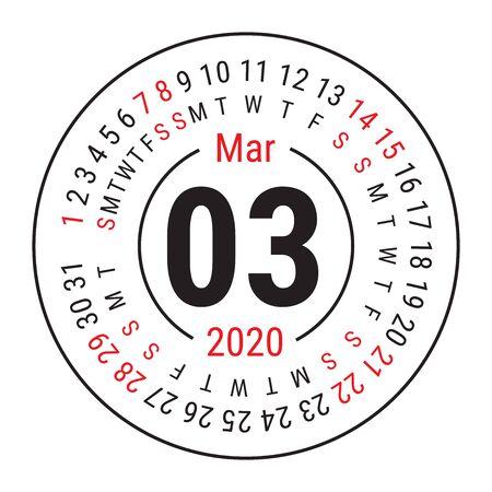 March 2020. Vector English сalendar. Round calender. Week starts on Sunday. Design template. Circle. Third month