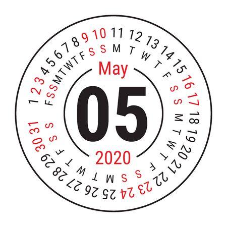 May 2020. Vector English сalendar. Round calender. Week starts on Sunday. Design template. Circle. Fifth month Çizim