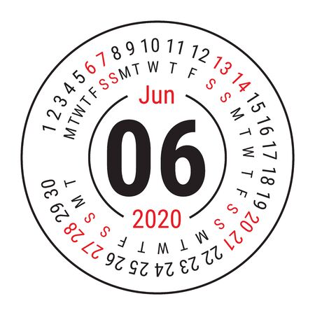 June 2020. Vector English сalendar. Round calender. Week starts on Sunday. Design template. Circle. Sixth month Çizim