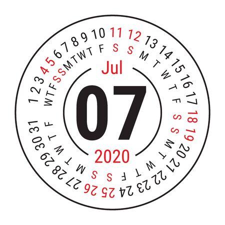 July 2020. Vector English сalendar. Round calender. Week starts on Sunday. Design template. Circle. Seventh month