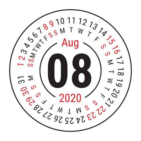 August 2020. Vector English сalendar. Round calender. Week starts on Sunday. Design template. Circle. Eighth month Çizim