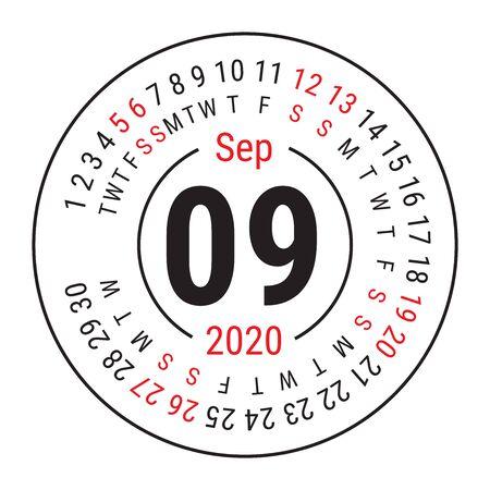 September 2020. Vector English сalendar. Round calender. Week starts on Sunday. Design template. Circle. Ninth month
