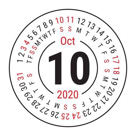 October 2020. Vector English сalendar. Round calender. Week starts on Sunday. Design template. Circle. Tenth month Çizim