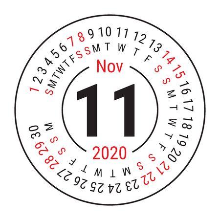 November 2020. Vector English сalendar. Round calender. Week starts on Sunday. Design template. Circle. Eleventh month