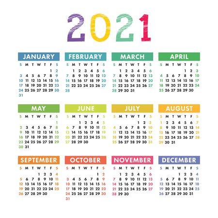 Calendario inglese 2021. Modello di disegno di calendario quadrato vettoriale. La settimana inizia di domenica. Nuovo anno