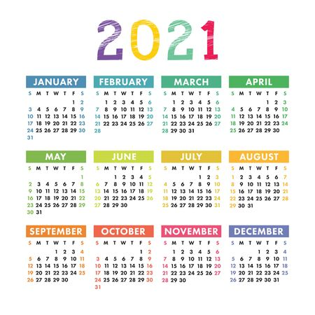 Englischer Kalender 2021. Designvorlage für quadratische Vektorkalender. Woche beginnt am Sonntag. Neujahr