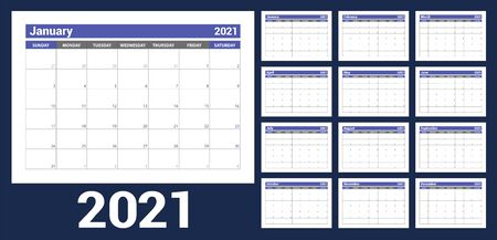2021 calendar. English planner. Ð¡olor vector template. Week starts on Sunday. Business planning. New year calender. Clean minimal table. Simple design