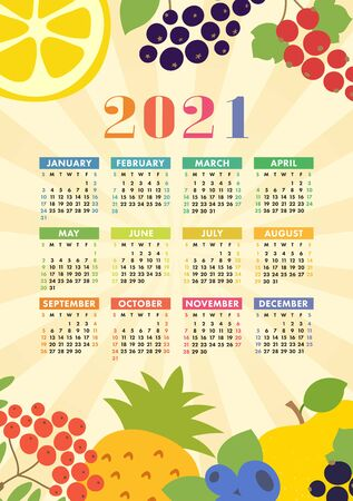 Calendar 2021. Wall poster. Organic healthy food. Color fruits and berries sketch menu. Fresh rowan, apple, lemon, pineapple, red currants, blueberry and chokeberry. Colorful design template. Hand drawn vector
