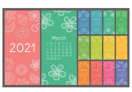 Calendar 2021 colorful hand drawn sketch. Doodle flower, heart, leaf, strawberry, watermelon, sun, snowflake, pumpkin, pear. Thin brush illustration
