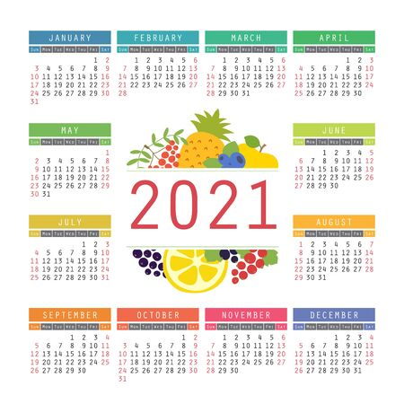 Calendar 2021. Organic healthy food. Color fruits and berries sketch menu. Fresh rowan, apple, lemon, pineapple, red currants, blueberry and black chokeberry. Colorful design template. Hand drawn vector Illustration