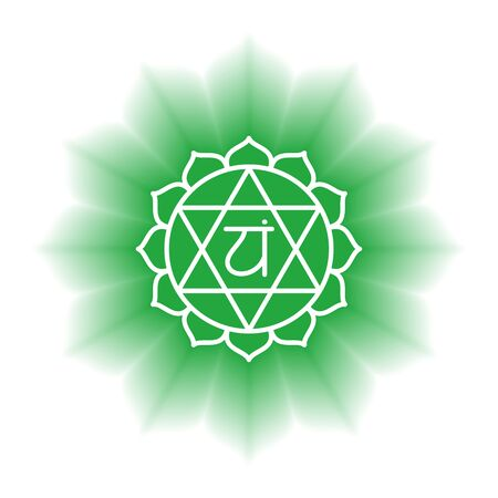 Anahata icon. The fourth heart chakra. Vector green gloss and shine. Line symbol. Sacral sign. Meditation