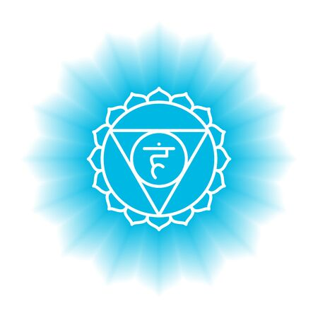 Vishuddha icon. The fifth guttural chakra. Vector blue gloss and shine. Line symbol. Sacral sign. Meditation