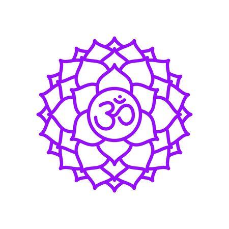 Sahasrara icon. The seventh crown, parietal chakra. Vector purple line symbol. Sacral sign. Meditation