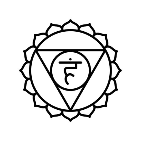 Vishuddha icon. The fifth guttural chakra. Vector black line symbol. Sacral sign. Meditation