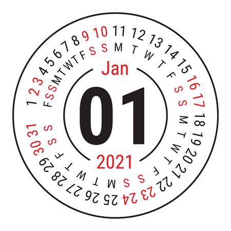 January 2021. Vector English �alendar. Round calender. Week starts on Sunday. Design template. Circle. First month