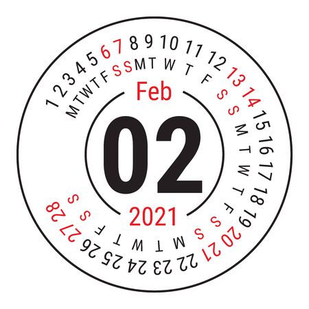 February 2021. Vector English �alendar. Round calender. Week starts on Sunday. Design template. Circle. Second month Vectores