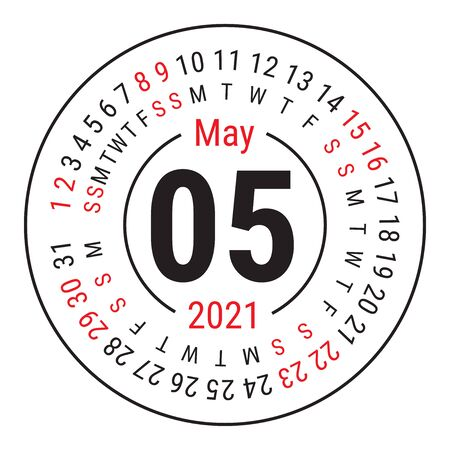 May 2021. Vector English �alendar. Round calender. Week starts on Sunday. Design template. Circle. Fifth month Vectores