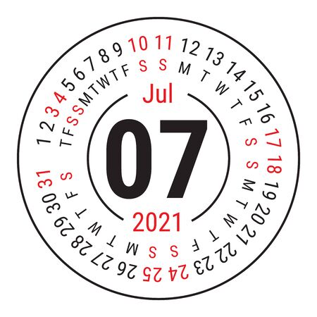 July 2021. Vector English �alendar. Round calender. Week starts on Sunday. Design template. Circle. Seventh month Vectores
