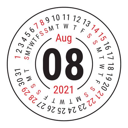 August 2021. Vector English �alendar. Round calender. Week starts on Sunday. Design template. Circle. Eighth month Vectores