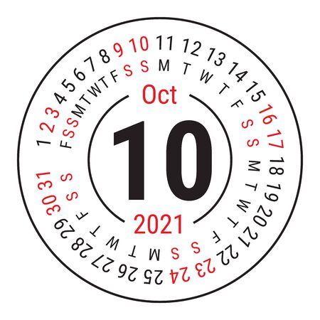 October 2021. Vector English �alendar. Round calender. Week starts on Sunday. Design template. Circle. Tenth month Vectores
