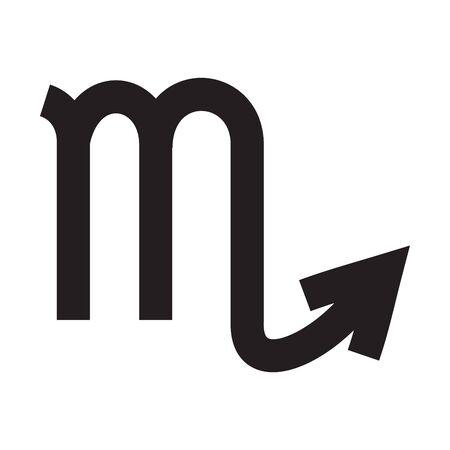 Scorpio. Zodiac sign. Astrological calendar. Zodiacal black and white vector horoscope. Line symbol Иллюстрация
