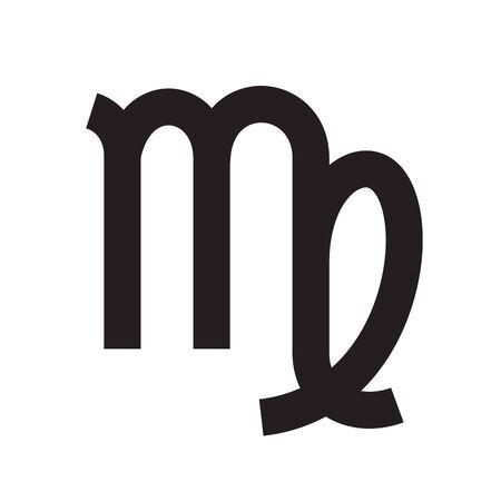 Virgo. Zodiac sign. Astrological calendar. Zodiacal black and white vector horoscope. Line symbol