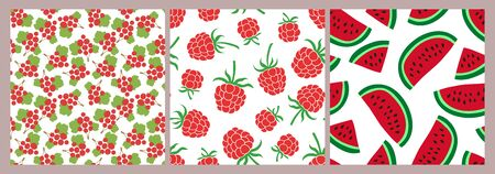 Berry seamless pattern set. Vector food fashion print. Red currant, raspberry and watermelon. Design elements for textile or clothes. Hand drawn doodle repeating delicacies. Cute background Иллюстрация