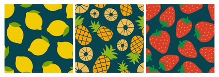 Berry and fruit seamless pattern set. Vector food fashion print. Lemon, pineapple and strawberry. Design elements for textile or clothes. Hand drawn doodle repeating delicacies. Cute background Иллюстрация
