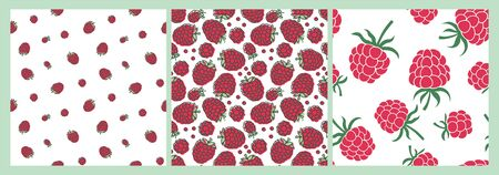 Red raspberry. Berry seamless pattern set. Vector food fashion print. Design elements for textile or clothes. Hand drawn doodle repeating delicacies. Cute background Иллюстрация