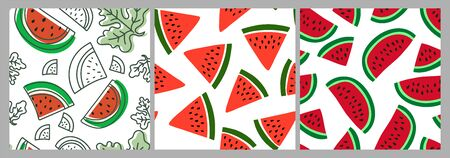 Watermelon slice. Berry seamless pattern set. Vector food fashion print. Design elements for textile or clothes. Hand drawn doodle repeating delicacies. Cute background