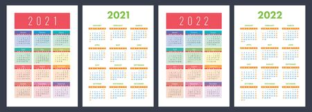 Calendar 2021 and 2022. English color vector set. Vertical wall or pocket calender template. Design collection. New year. Week starts on Sunday