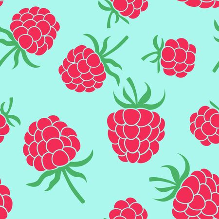 Raspberry seamless pattern. Hand drawn fresh fruit. Vector sketch background. Color doodle wallpaper. Red berry print Иллюстрация
