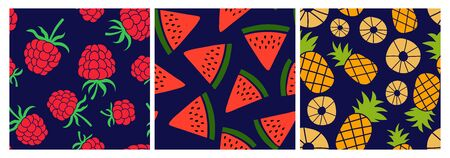 Berry and fruit seamless pattern set. Vector food fashion print. Raspberry, watermelon slice and pineapple. Design elements for textile or clothes. Hand drawn doodle repeating delicacies. Cute background