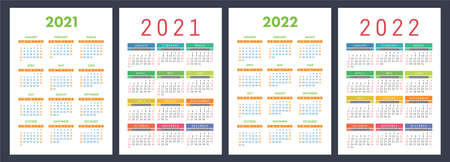 Calendar 2021 and 2022. English color vector set. Vertical wall or pocket calendar template. Design collection. New year. Week starts on Sunday