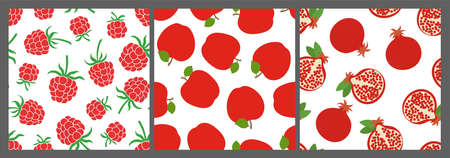 Berry and fruit seamless pattern set. Vector food fashion print. Red raspberry, apple and garnet. Design elements for textile or clothes. Hand drawn doodle repeating delicacies. Cute background