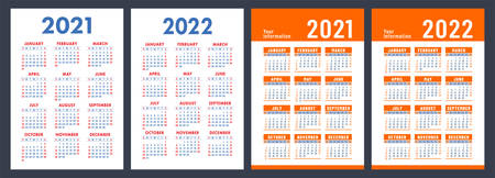 Calendar 2021 and 2022. English color set. Vertical wall or pocket calendar template. Design collection. New year. Week starts on Sunday