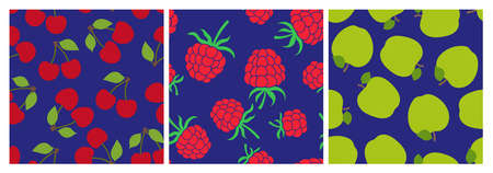 Berry and fruit seamless pattern set. Vector food fashion print. Red cherry, raspberry and green apple. Design elements for textile or clothes. Hand drawn doodle repeating delicacies. Cute background Иллюстрация
