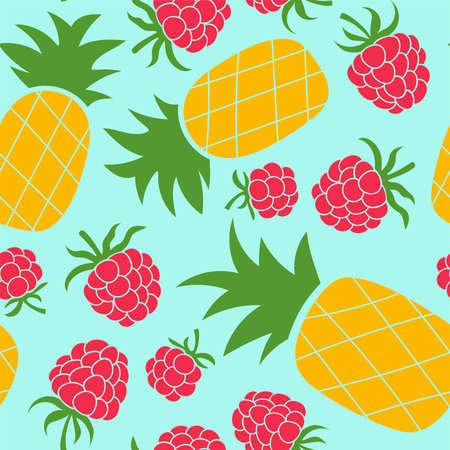 Raspberry and pineapple seamless pattern. Hand drawn fresh fruit. Vector sketch background. Color doodle wallpaper. Tropical print Иллюстрация