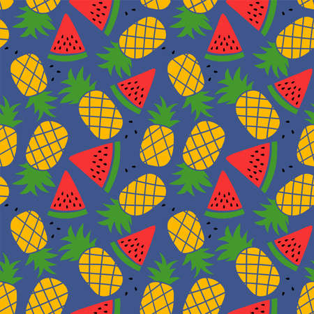 Pineapple and watermelon seamless pattern. Hand drawn vector sketch background. Color doodle wallpaper. Exotic tropical fruit. Fashion design. Food print for kitchen tablecloth