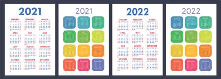Calendar 2021 and 2022 color vector set.