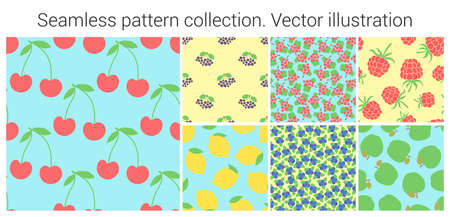 Fruit seamless pattern set. Fashion clothing design. Food print for dress, skirt, linens or curtain. Hand drawn vector sketch background collection